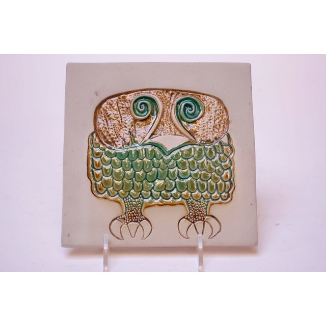 'Owl' stoneware tile (model #1536) designed in the 1950s by David Gil for Bennington Potters. Can function as a trivet or...