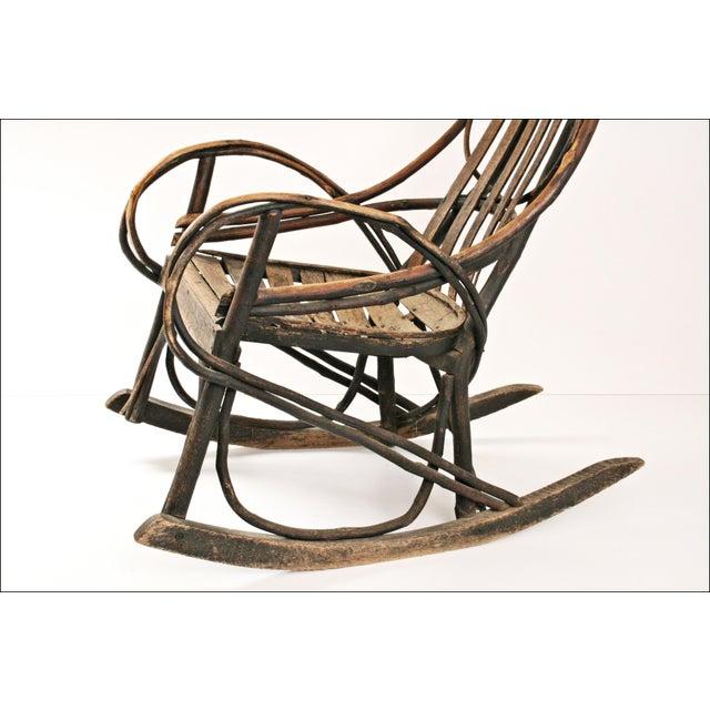 Vintage Adirondack Twig Wood Rocker - Image 6 of 11