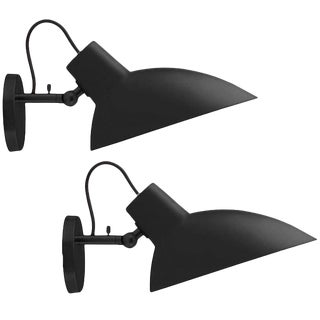 Italian Vittoriano Viganò 'Vv Cinquanta' Black Enamel Wall Sconces - a Pair For Sale
