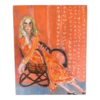 """Woman in Modern Chair"" Oil Painting on Wood Panel by J J Justice For Sale"