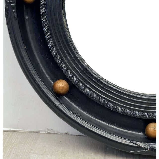 Wood English Round Ebony Black and Gold Framed Convex Mirror For Sale - Image 7 of 13