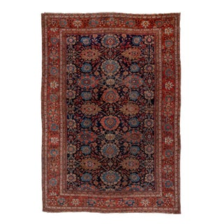 1900s Antique Navy Sultanabad Rug-11′10″ × 17′ For Sale