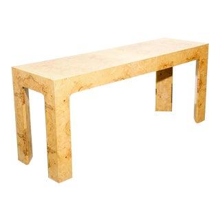 Burl Elm Console Table For Sale