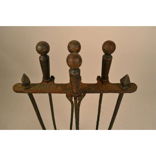 Metal Five Piece Arts & Crafts Fireplace Tool Set For Sale - Image 7 of 9