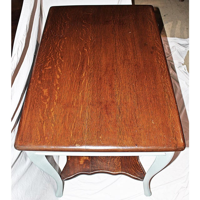 Wood 19th Century Early American Oak Writing Desk For Sale - Image 7 of 9