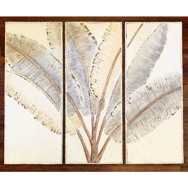 Pressed Tin Triptych of Painted Banana Leaves by Kalalou - 3 Pieces For Sale - Image 13 of 13