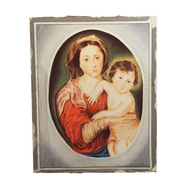 """""""Madonna & Child"""" Painting on Sheet Rock For Sale - Image 9 of 9"""