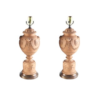 Vintage Pair of Neoclassical Terracotta Lamps For Sale