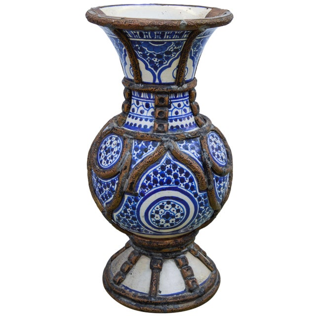 Abstract Expressionism Blue Ceramic Vase W/ Fine Brass Filigree For Sale - Image 3 of 10