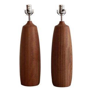 Vintage Wooden Lamps - a Pair For Sale
