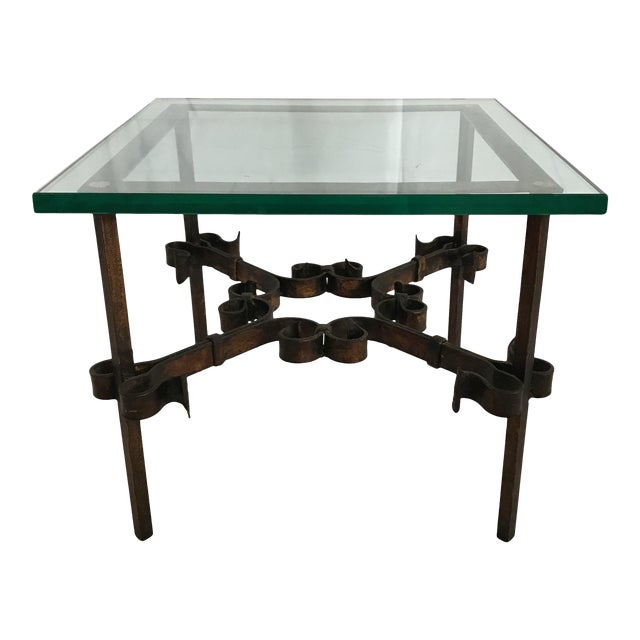 1960's Mid Century Modern Marshall Fields Spanish Revival Style Wrought Iron Side Table For Sale
