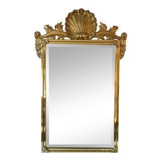 Solid Brass Regency Shell Mirror For Sale