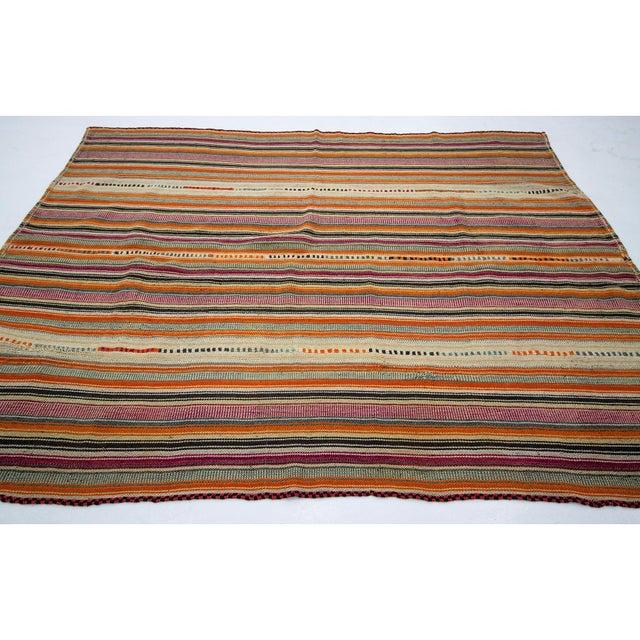 Traditional 1960s Vintage Colorful Striped Turkish Kilim Rug- 5′11″ × 8′ For Sale - Image 3 of 7