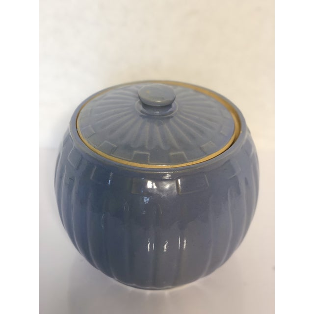 1930s 1930s Vintage Watt Pottery Blue Squares Covered Casserole Dish For Sale - Image 5 of 6