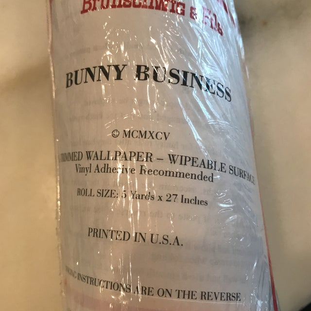 "Plastic Brunschwig & Fils Wallpaper ""Bunny Business"" Roles - Two Triple Rolls For Sale - Image 7 of 8"