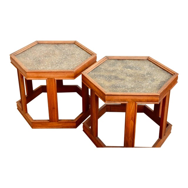This listing is for a pair of John Keal for Brown Saltman hexagonal side tables. They are also great together as a small...