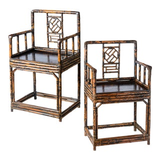 Antique Chinese Qing Dynasty Burnt Bamboo Chairs, C1850, A-Pair For Sale