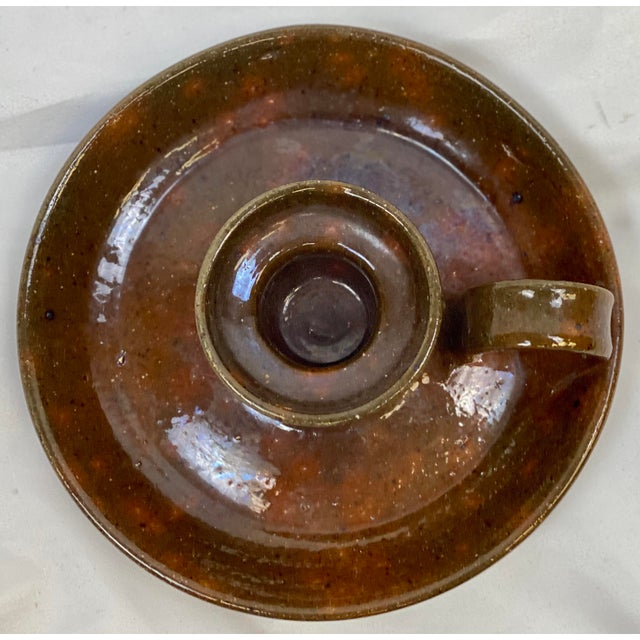 American Mid 20th Century Vintage Jugtown Pottery Earthenware Candleholder For Sale - Image 3 of 6