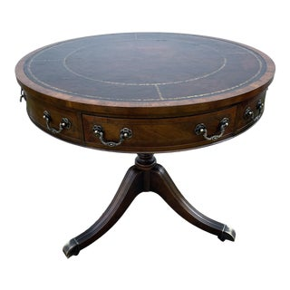 Vintage Baker Inlaid Mahogany Leather Top Drum Table W/Two Drawers For Sale