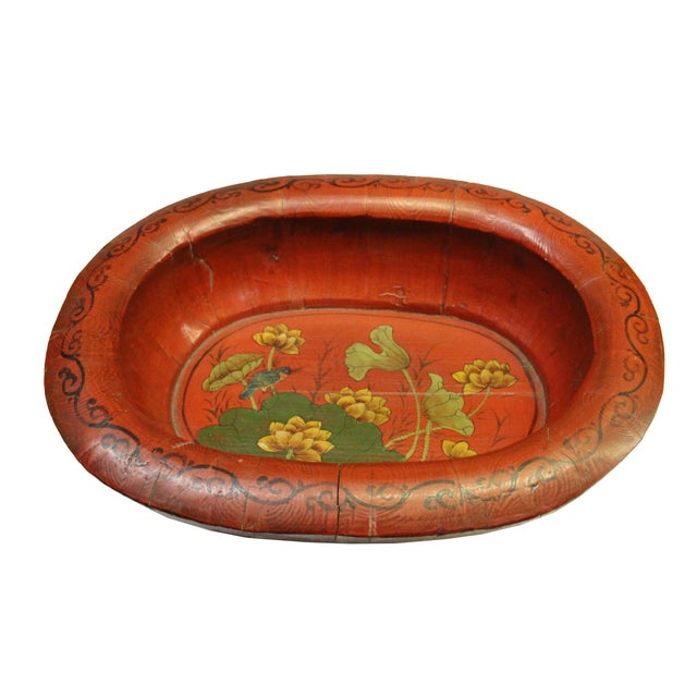 Chinese Vintage Distressed Red Flower Oval Shape Wood Bucket For Sale In San Francisco - Image 6 of 9