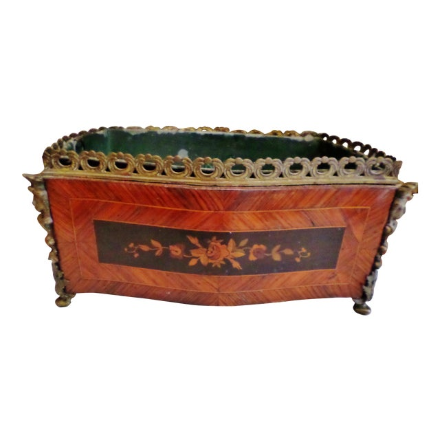 19th Century Antique French Bronze & Marquetry Inlaid Wood Flower Box For Sale