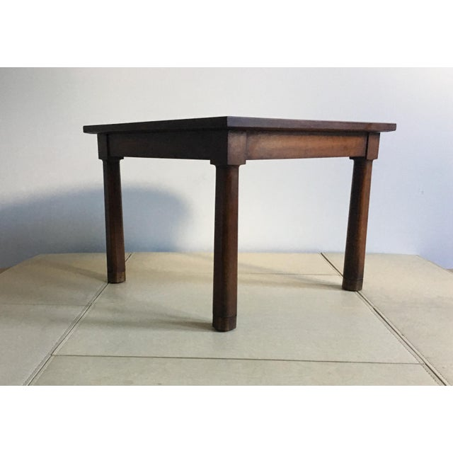 Wood Mid Century Corner Table With Reverse Tapered Legs For Sale - Image 7 of 11