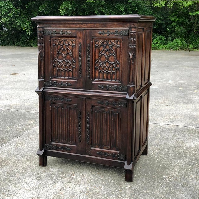 French Antique French Gothic Cabinet For Sale - Image 3 of 12