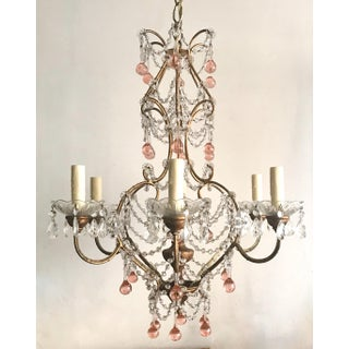 Italian Gilt Iron and Crystal Chandelier With Pink Murano Drops Preview