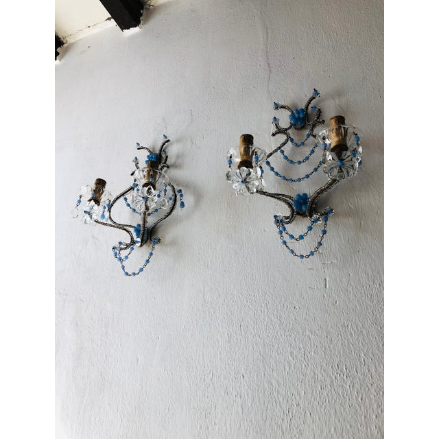 French French Lavender Opaline Beads Beaded Sconces, circa 1920 For Sale - Image 3 of 10