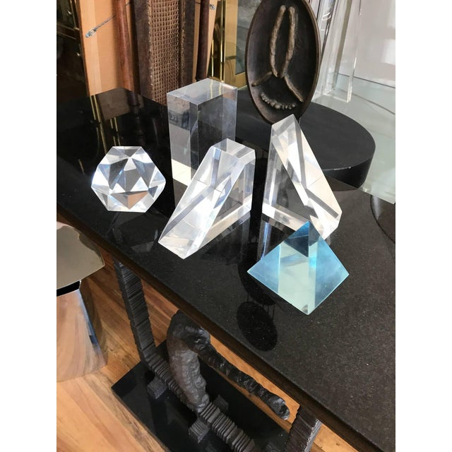 Acrylic Set of Five Lucite Decorative Geometric Sculptures For Sale - Image 7 of 11