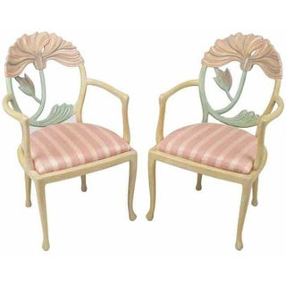 Pair of Italian Polychrome Carved Poppy Armchairs Preview