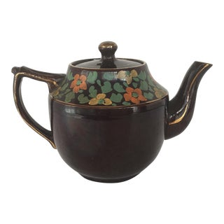 "English Handpainted ""Brown Betty"" Teapot For Sale"