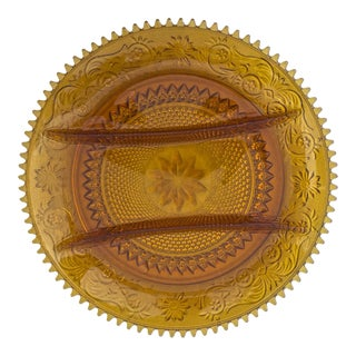 Vintage Amber Indiana Glass Platter For Sale