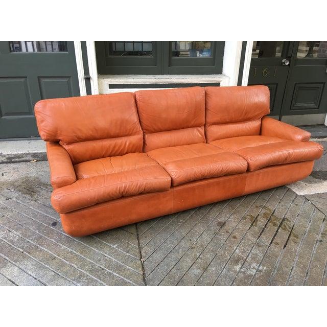 Saporiti Burnt Orange Leather Sofa For Sale - Image 12 of 12