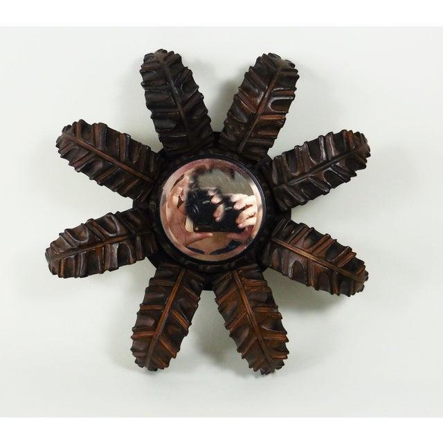 French Wood Leaves Sunburst Mirror - Image 2 of 4