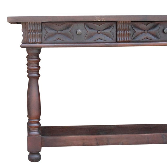 Carved Teak Spanish Colonial Console For Sale In Los Angeles - Image 6 of 9