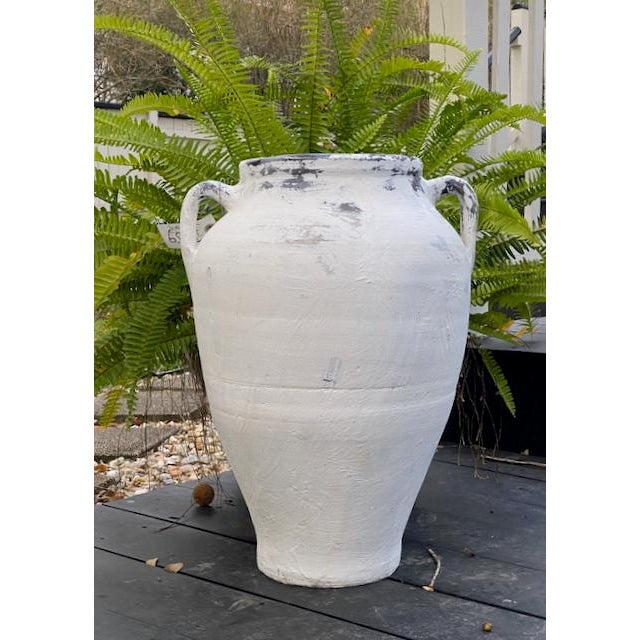 Antique Whitewashed Terracotta Handled Olive Jar For Sale - Image 9 of 11