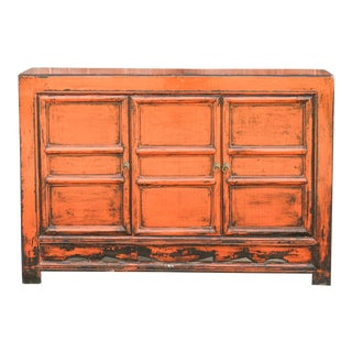 Charming Cinnabar Mongolian Cabinet For Sale