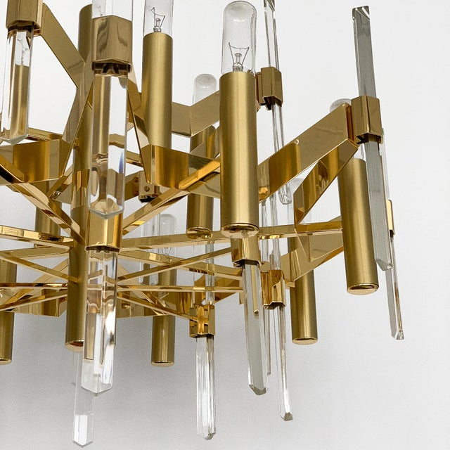 1970s Gold-Plated Brass and Crystal Chandelier by Gaetano Sciolari For Sale - Image 5 of 12