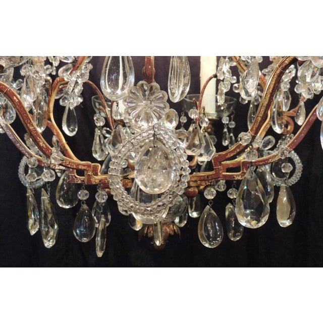 Luxury early 20th c french iron tole and crystal chandelier early 20th c french iron tole and crystal chandelier attributed to bagues aloadofball Gallery