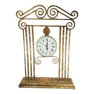 Large Vintage Metal Freestanding Clock For Sale