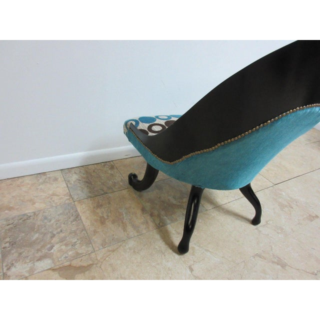 Textile Hollywood Regency Style Modern Scoop Back Fireside Lounge Club Chair For Sale - Image 7 of 10
