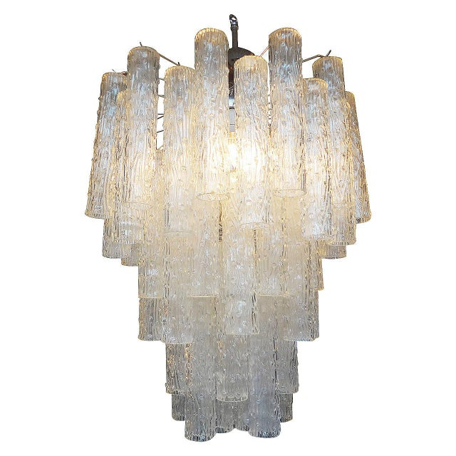 Glass Mid Century Venini Style Murano Glass Tronchi Chandelier For Sale - Image 7 of 7