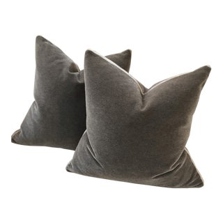 Boho Chic Pewter Gray Velvet Mohair Pillows - a Pair For Sale