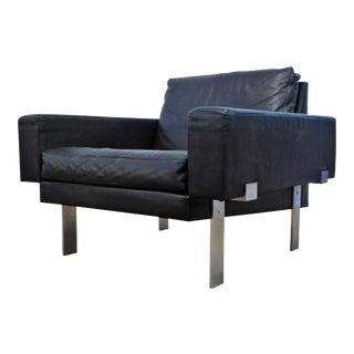1960s Danish Modern Mikael Laursen for Illum Wikkelsø Black Leather Club Chair