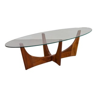 Adrian Pearsall Walnut Glass Top Coffee Table For Sale