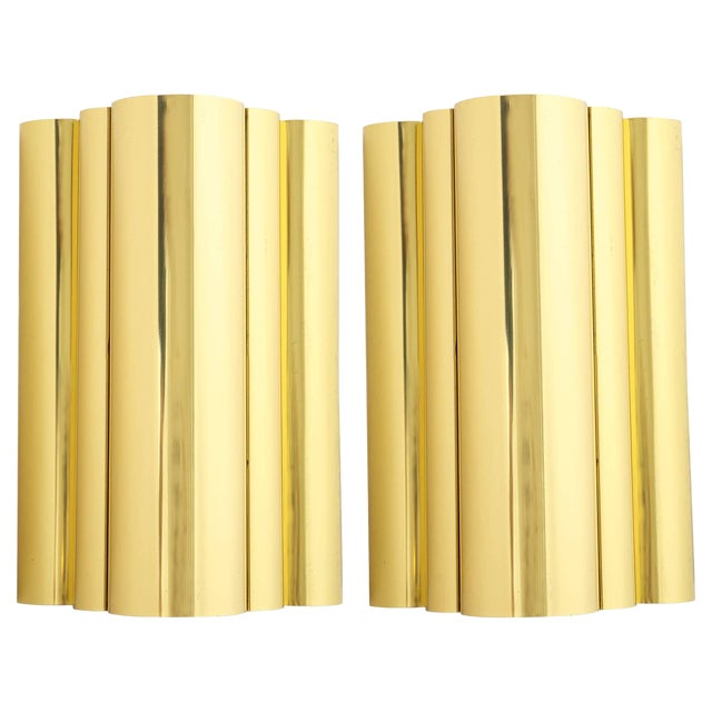 1970s Jere Style Modern Brass Sconces - a Pair For Sale
