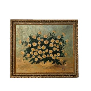 """Vintage Impressionist Signed Oil Painting, Bowl of Daisies - 29.5"""" X 25"""" For Sale"""