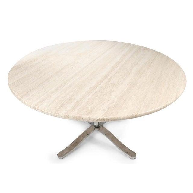 1960s Nicos Zographos Travertine & Chromium Steel Pedestal Table For Sale - Image 5 of 6