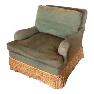 Heirloom Green Gold Fabric Fringe Arm Chair For Sale